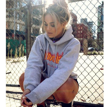 Womens Gray Sportswear Thrasher Hoodies