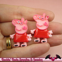 4 pc PINK PIG Cartoon Inspired Kawaii Cabochons 24x31mm Decoden Resin Flatback Cellphone Decorations