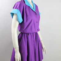 Vintage - 80s - Two Tone - Purple & Turquoise Blue - Button Up - Collar - Slouchy Bodice - Full Mini Skirt - Dress