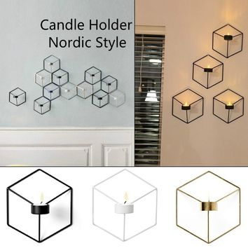 Minimalism 3D Geometric Steel Candle Holder Nordic Style Home Decor Cafe Store Living Room Decorative Candlesticks