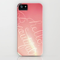"""Hello Beautiful"" - hand lettered heart balloon print iPhone & iPod Case by JMore"