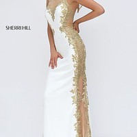 Ivory and Gold Embroidered Sherri Hill Dress