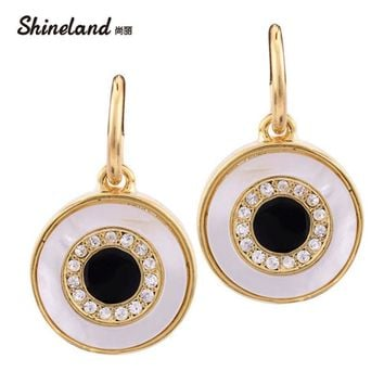 New Fashion Design Shiny Crystal Gold\Silver Color Shell Alloy Round Pendant Enamel Statement Dangle Earrings Jewelry For women