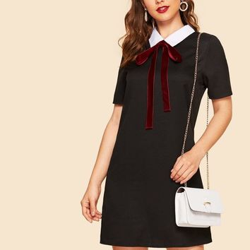 Contrast Collar Bow Front Tunic Dress