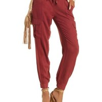 Berry Drawstring Cargo Jogger Pants by Charlotte Russe