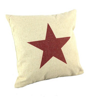 Red Star Pattern Design For Pillow Cotton Linen Case, Pillow Cushion Case 18 x 18 inches