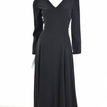 90s Georgio Armani Long Black Crepe Cocktail Dress