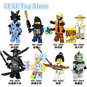 8pcs/lot PG8073 Ninjagoes Figure Nya Sensei Wu Flashback Garmadon N-POP Girl Shark Army Angler Building Blocks Toys