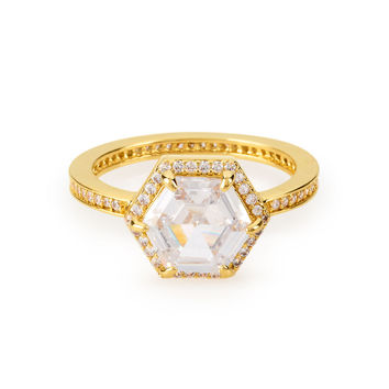 Pave Hex Statement Ring | Henri Bendel