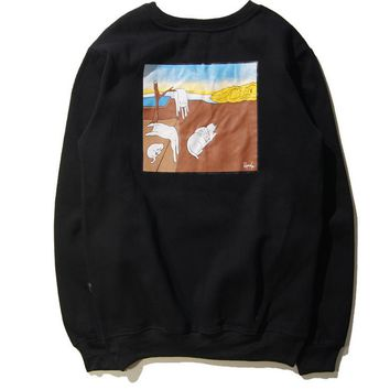 Fall and winter Hip-Hop Harajuku trend brand men and women couple pocket plus velvet head sweater vertical middle finger cheap cat men and women