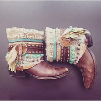 Decorated Cowboy Boots SHABBY CHIC Vintage Boots Boho Festival Boots Custom Made To Order