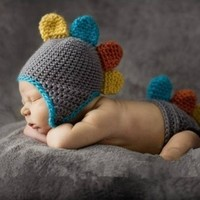 Baby Costume Cute Brown Dinosaur Newborn Baby Knitted Crochet Hat &Shorts Photography Props