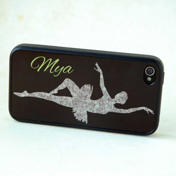Personalized Phone Case, iPhone, Samsung Galaxy, Monogrammed Gift for Dancer, Silhouette, Glitter iPhone 5 Case, Silicone Cover