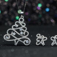 Christmas gifts-925 sterling silver sparkle hollow out zircon Christmas tree jewelry+ Nice gift box ALQ