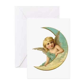 ANGEL ON THE MOON VINTAGE ART GREETING CARDS