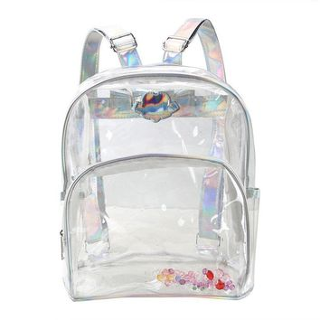 2017 Brand waterproof Laser Straps Tote laptop backpack women backpacks for teenage girls summer Beach clear bag women+Free gift