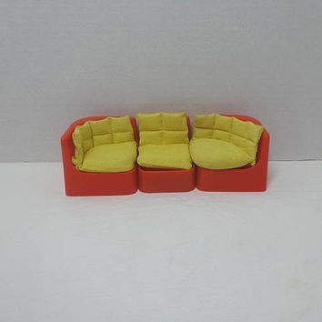 1980s Doll House Red Sectional Sofa with Yellow Cushions by Wolverine, 3 Piece Living Room Set, Vintage Toy Furniture, Toy Couch, Play