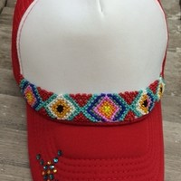 GUG Original Red Trucker Cap with Red and Turquoise Aztec Beads