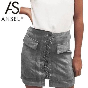LMFET7 Anself Fashion Women Lace Up Suede Leather Skirt Sexy High Waist Bodycon Skirts Womens Vintage Pocket Short Pencil Skirt Faldas