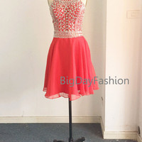 Red Short Prom Dress, Halter Chiffon Formal Dress with Crystals, Wedding Party Dress, Sequin Straps Knee Length Gown, Homecoming Dress