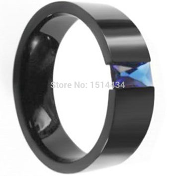 Blue 14 Size 7-15 8MM Men Black Stone Sapphire Stainless Steel Wedding Ring Band For School Graduation Cocktail