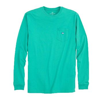 Long Sleeve Embroidered Pocket T-Shirt in Tropical Palm Green by Southern Tide