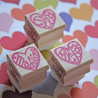 Hand Carved Mounted Original Heart Name Stamp