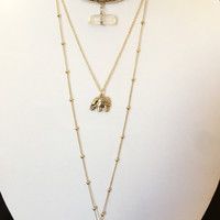 Triple Chained Stone Elephant Horn Pendant Necklace - Gold or Silver