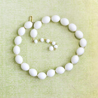 Vintage 1950s, Trifari White Bead Choker Necklace, Womens Mid Century Estate Jewelry