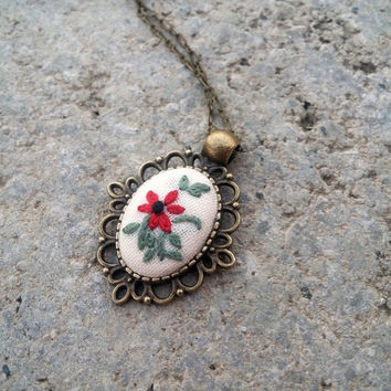 Vintage Style Red Flower Necklace, Pendant on Chain, Cute Necklace, Delicate Jewelry, Bohemian Necklace,  Bridesmaid Jewelry