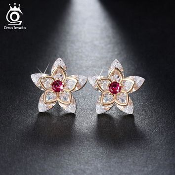 Cute Flower Crystal Stud Earring Paved Shiny Cubic Zirconia Trendy Jewelry for Women