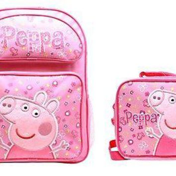 "2017 New E-ONE Peppa Pig 16"" Large Backpack Plus Lunch Bag For Girls and Kids!"