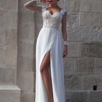 Long Sleeve White Chiffon Prom Dresses