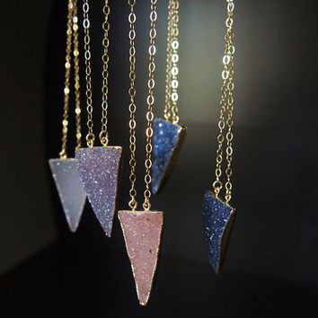 Druzy Drusy Triangle Necklace Gemstone Gold Filled Necklace