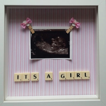 It's a girl baby scan photo frame first baby keepsake scrabble custom baby shower gift baby nursery wall decor personalised gifts