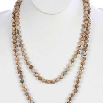 Brown Natural Stone Bead Extra Long Wraparound Necklace