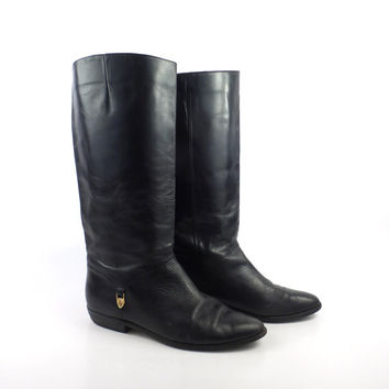 Boots Black Leather Vintage 1980s Flat Leather Riding Etienne Aigner Slouch Women's size 8