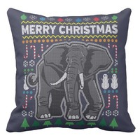 Wildlife Elephant Merry Christmas Ugly Sweater Pillow
