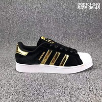 Adidas new shell head gold velvet wild classic shell head F-CSXY  Black - gold stripes - white toe
