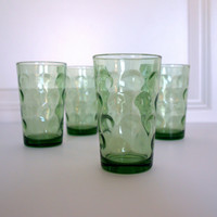 VINTAGE MID CENTURY Green Glass Miniature Juice Glasses - Bubble print pattern - Retro Mini Bar glass set of 4 - Double Shot Modern Bar Cup