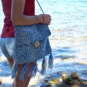 Crochet tote bag Summer beach boho tote Hippie handbag fringe Bohemian tote shoulder bag Blue Market tote Womens gift Girlfriend gift totes