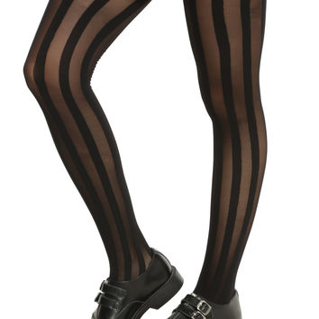 Blackheart Black Shadow Stripe Tights