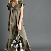 Short Sleeve Tiered Ruffle Maxi Dress