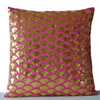 Metallic Gold Embroidered Accent Pillow -Gold Disc pillow cover -Gold Hot Pink Beaded Cushion cover -gift -20x20 -Gold Pink Sequin pillows