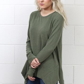 Cozy Fleece Sharkbite Sweater {Olive}