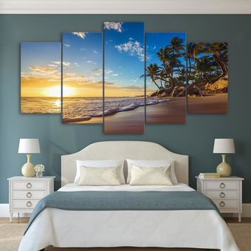 Canvas Wall Art:  The Sunset on a Tropical Beach with Palm Trees Print on Canvas 5-Panel