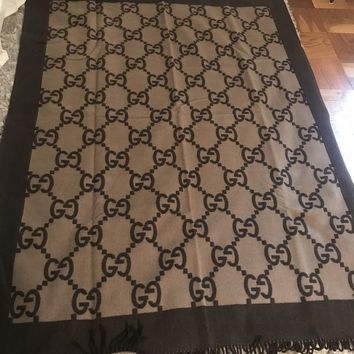 Gucci Two Tone Brown Luxury Throw Blanket (New with Box)
