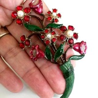 "Vtg 1940s Red Rhinestone Enamel Faux Pearl Floral Bouquet Pin Big 3.25""T Brooch"
