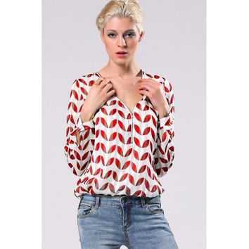 Stylish Women Hot Fashion Leaf Pattern Long Sleeve Front Zip V-Neck Top Blouse
