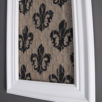 White Framed Chicken Wire Organizer / Memo Board / Jewelry Hanger / Burlap w/ Black Fleur di lis